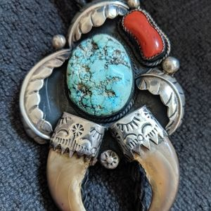 Turquoise/Coral/Claw Sterling Bolo